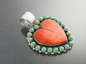 Pendant Sterling Silver Spiny Oyster Turquoise Heart NM (Image1)