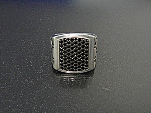 Black Diamonds Sterling Silver Signed Mgw Ring