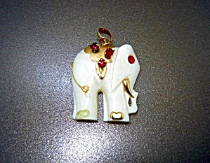 14k Gold Ruby Bone Ivory Elephant Pendant Jewelry Fine