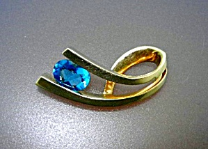 14K Gold Blue Topaz Pendant Slide 1 1/4 inches (Image1)