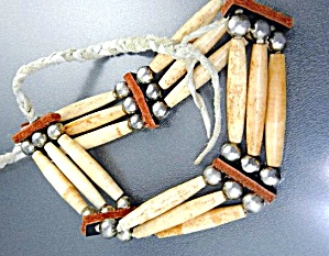 Native American Bone Sterling Silver Leather Choker
