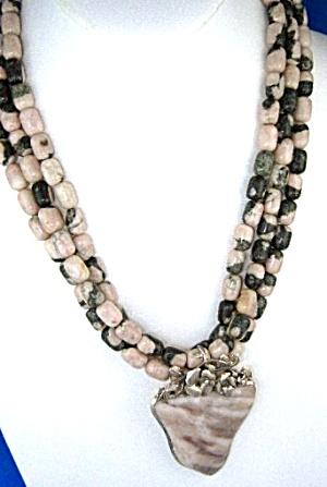 Agate Pink Black 3 Strands Sterling Silver Agate Penda (Image1)