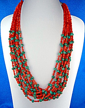 Native American Coral Turquoise Sterling Silver 10 Stra