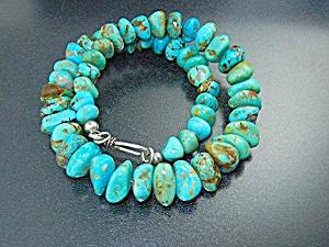 Navajo Kingman Turquoise Necklace Hook Clasp