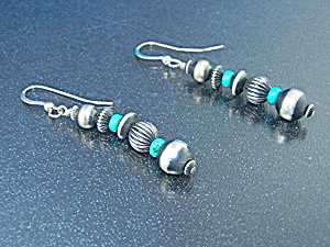 Navajo Sterling Silver Turquoise Shepherd Hook Earrings