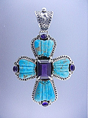 David Troutman Kingman Turquoise Amethyst Pendant (Image1)