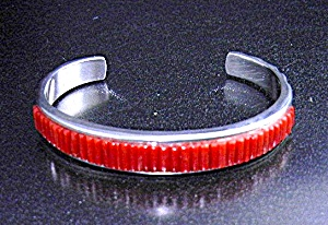 Calvin Begay Coral Sterling Silver Native American (Image1)