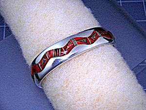 Calvin Begay Red Opal Spiny Oyster Onyx Sterling Silver (Image1)