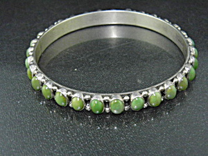 Navajo Sterling Silver Green Kingman Turquoise Bangle