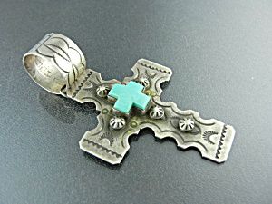 Navajo Kingman Turquoise Sterling Silver Cross G. Sanch