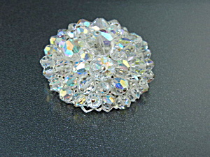 Silver Filigree Borealis Crystal Brooch 60s Costume