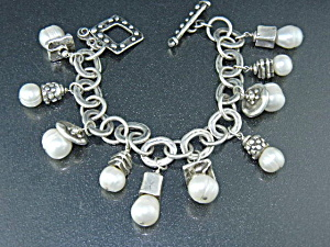 Charm Bracelet Sterling Silver Freshwater Pearls Rm