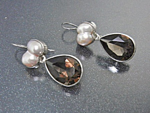 Freshwater Pearls Smoky Topaz Sterling Silver Earrings