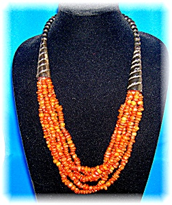 6 Strand Amber ? Horn Bead Ethnic  Necklace (Image1)