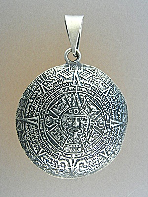 Pendant Sterling Silver Aztec Calender Mexico