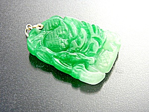 Pendant Green Carved Jade 14K Gold bale (Image1)
