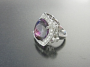 Ring Ametrine 28.60 Cts White Sapphire Sterling Silver