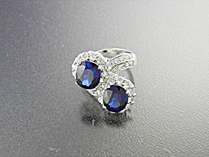 Ring Sterling Silver Kashmir Sapphires Blue and White (Image1)