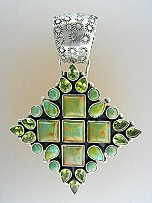 Dan Dodson Sterling Silver Turquoise Peridot Pendant