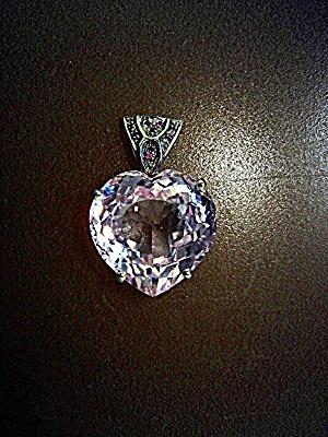 Pendant Sterling Silver 26.90 Pink Kunzite Ruby Heart  (Image1)