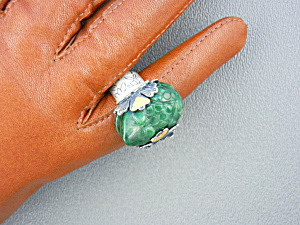 Ring Sterling Silver Hand Made Green Jade Frog Ring