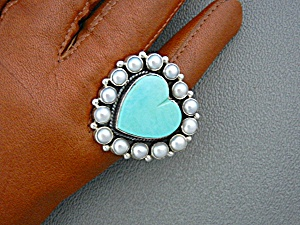Dan Dodson Sterling Silver Pearls Turquoise Heart Ring