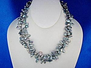 Keshi Grey Pearls 2 Strands Sterling Silver (Image1)