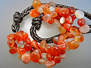 Carnelian And Leather Bead Necklace