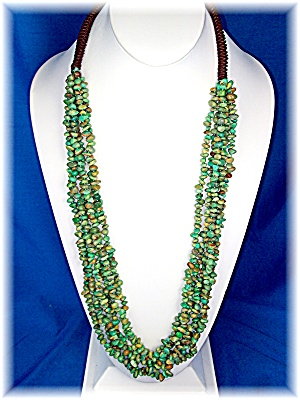 Necklace Green Turquoise Nuggets 6 Strands