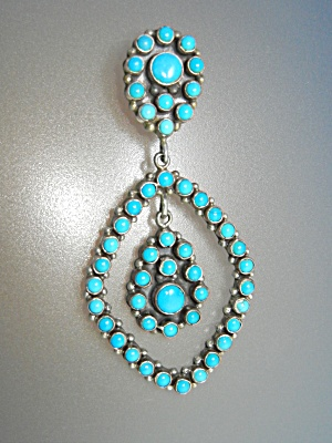Navajo Sleeping Beauty Turquoise Sterling Silver Clip E