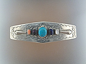 Hair Barette Sterling Silver Turquoise Coral Lapis W.s
