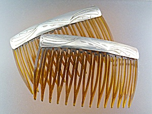 Hair Comb Sterling Silver USA pair (Image1)