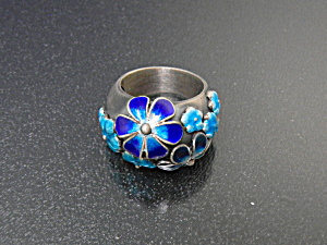 Ring Sterling Silver Enamel Blue Flowers Hand Made