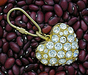 Rhinestone Goldtone Heart Key Ring