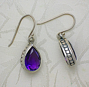 Amethyst  and Sterling Silver Teardrop Earrings (Image1)