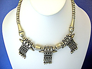 Necklace Silver Ethnic Pendant Chain Bead 17 Inch (Image1)
