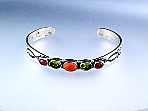 Bracelet Sterling Silver Coral Peridot Tourmaline FEENE (Image1)