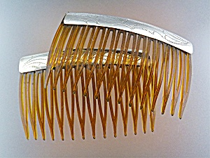 Hair Combs Sterling Silver X 2