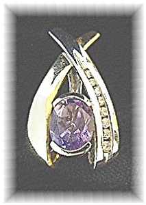 Diamond Amethyst Yellow  White Gold Pendant Enhancer (Image1)