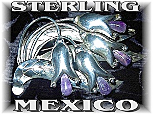 Mexican Sterling Silver  Amethyst  Flower Pin (Image1)