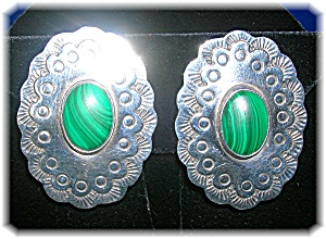Sterling Silver Malachite Clip Earrings Mexico (Image1)