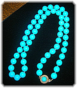 Ciner 23 Inch Turquoise Glass Bead Necklace
