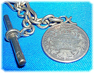 Victorian Chain  and Fob English1885 Sterling Silver  (Image1)