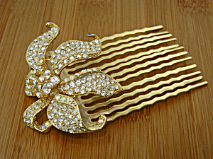 Hair Comb Crystals Goldtone Flower (Image1)