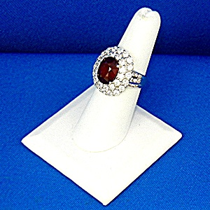 Ruby 7 Ct and White Sapphires Sterling Silver Ring (Image1)
