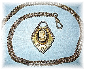 Lava Glass Antique Cameo Mourning Locket 31 Inch Chain (Image1)