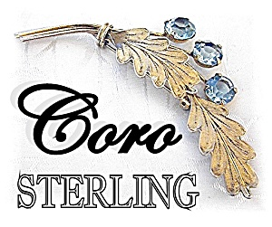 CORO  Sterling Silver gold Vermeil Aqua Crystal Pin (Image1)