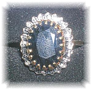 Ring 10K Gold Sapphire Diamond Princess Diana (Image1)