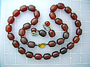 Amber Carnelian Color Necklace And Drop Earrings