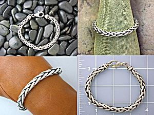 Sterling Silver lobster Clasp Woven Bracelet (Image1)